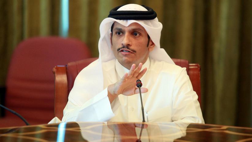 Golfstaaten: Katars Außenminister Scheich Mohammed bin Abdulrahman al-Thani bei einer Presskonferenz in Doha