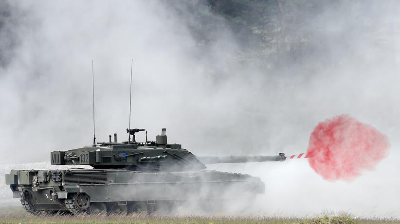 An Italian Ariete tank during an exercise near Eschenbach in southern Germany