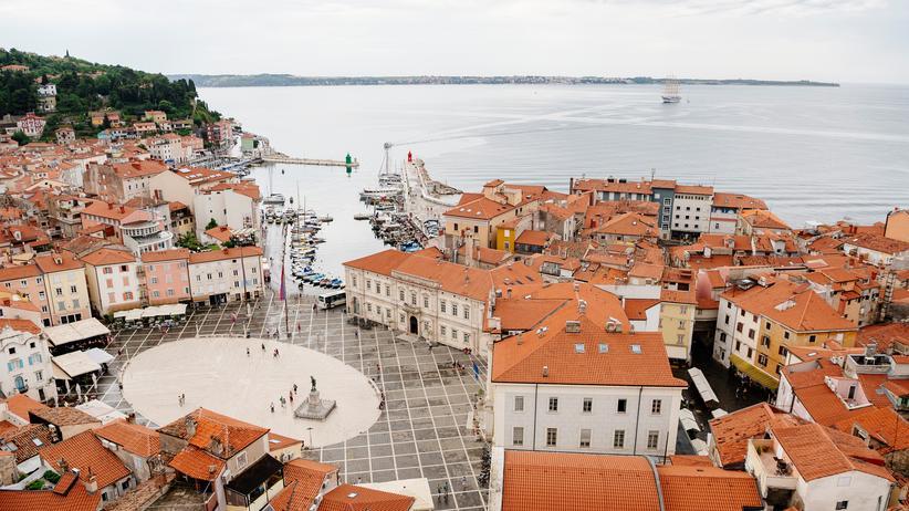 Piran Bucht Krotatioen Slowenien