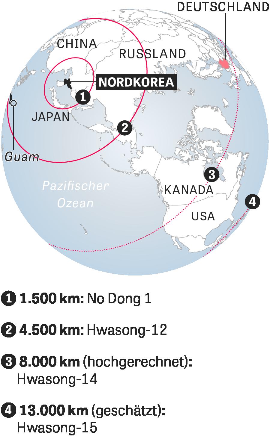 Nordkorea: Theoretische Reichweiten nordkoreanischer Raketensysteme, geschätzt und hochgerechnet