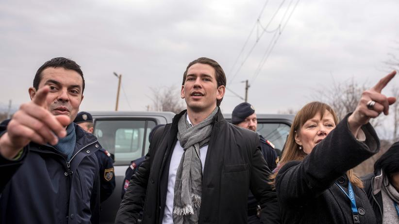 Sebastian Kurz an der Grenze Griechenlands zu Mazedonien