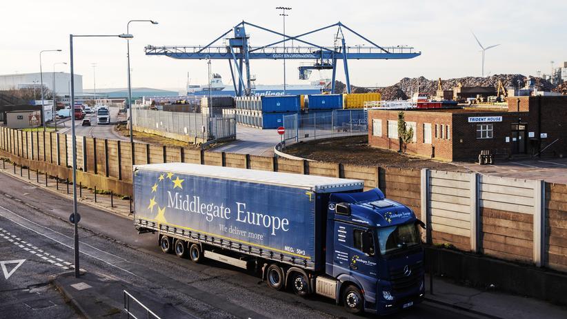Brexit: Ein Lkw am Hafen von Tilbury
