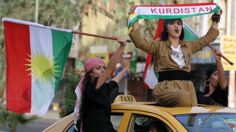 Kurden-Referendum: Irakische Kurden in Kirkuk feiern das Unabhängigkeitsreferendum.