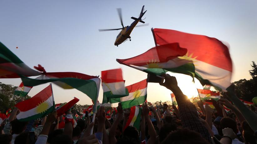Nordirak: Irakische Kurden demonstrieren in der Stadt Erbil für das geplante Unabhängigkeitsreferendum.
