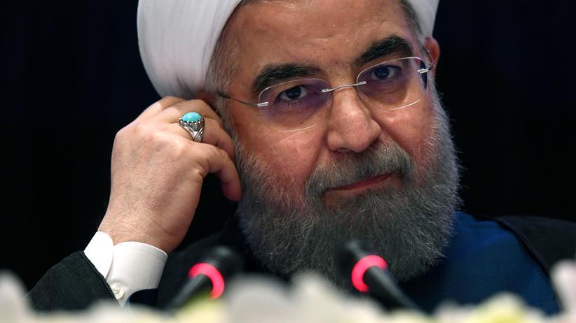 UN-Generalversammlung: Der Präsident des Iran, Hassan Ruhani, bei einer Pressekonferenz im Rahmen der Vollversammlung der Vereinten Nationen