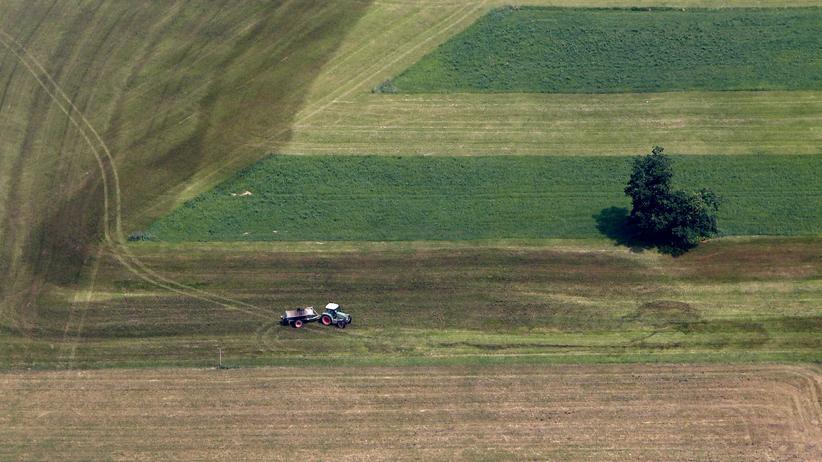 Unkrautvernichter: Ein Landwirt düngt sein Feld in der Nähe von Rosenheim.