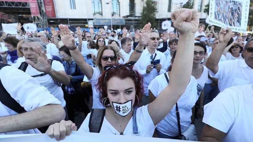 Demonstranten in Madrid