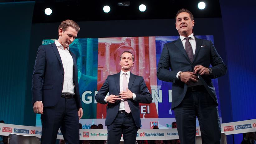Wahl in Österreich: Österreichs Außenminister Sebastian Kurz (ÖVP), Kanzler Christian Kern (SPÖ) und Heinz-Christian Strache (FPÖ) während der TV-Debatte am 15. September 2017
