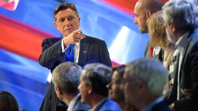 Borut Pahor: Der amtierende Präsident Sloweniens, Borut Pahor, in einer TV-Debatte mit anderen Kandidaten.