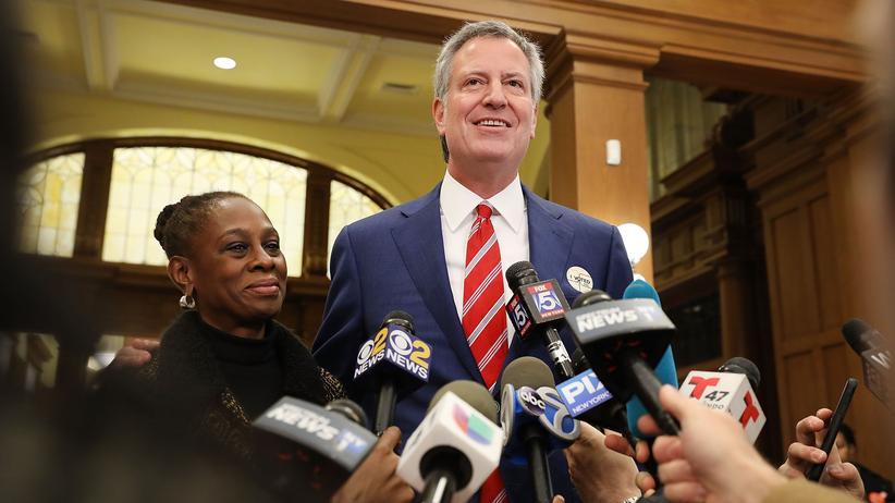 USA: Bill de Blasio als Bürgermeister von New York wiedergewählt