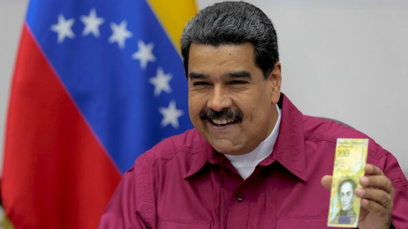 Venezuela: Venezuelas Präsident Nicolás Maduro stellt den 100.000-Bolívar-Schein vor.