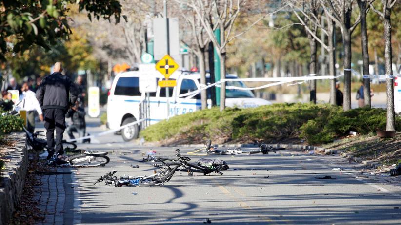 Anschlag in New York: Fahrräder, die nach dem Anschlag in Manhattan in New York liegen