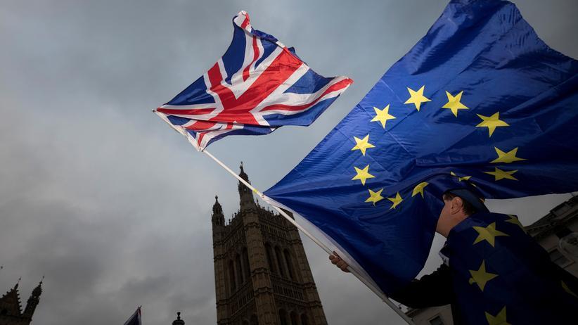 Brexit-Umfrage: Ein Brexit-Gegner schwenkt vor dem britischen Parlament europäische und  britische Fahnen.