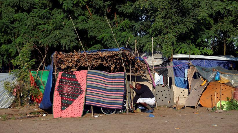 Flüchtlinge: Flüchtlinge habe sich an der ungarisch-serbischen Grenze Behelfsunterkünfte gebaut.