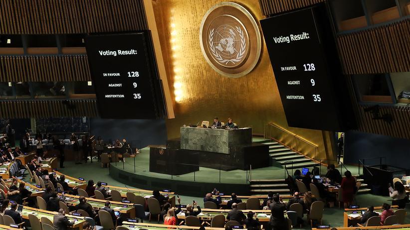 Jerusalem-Entscheidung: Die UN-Vollversammlung im UNO-Hauptquartier in New York, USA