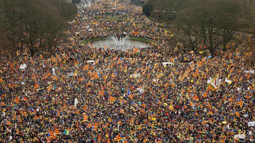 Katalonien: Aus ganz Europa sind Katalanen angereist, um in Brüssel zu demonstrieren.