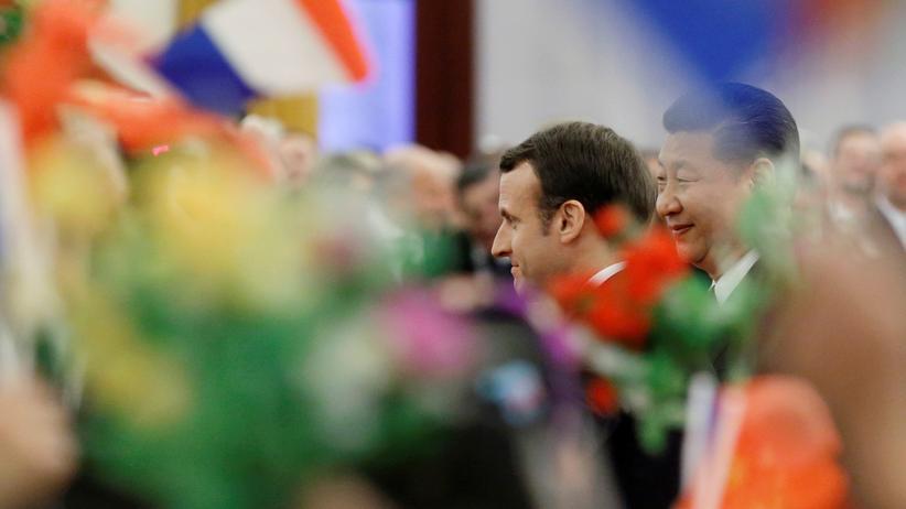 Emmanuel Macron in China: Frankreichs Präsident Emmanuel Macron zu Besuch bei Chinas Präsident Xi Jinping.