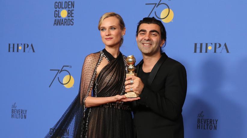 Fatih Aktin und Schauspielerin Diane Kruger freuen sich über den Golden Globe.