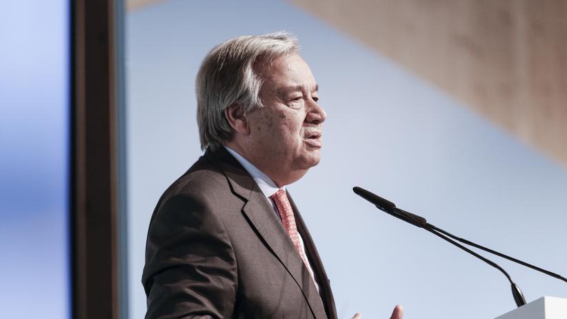 António Guterres: UN-Generalsekretär António Guterres während einer Konferenz in Bonn
