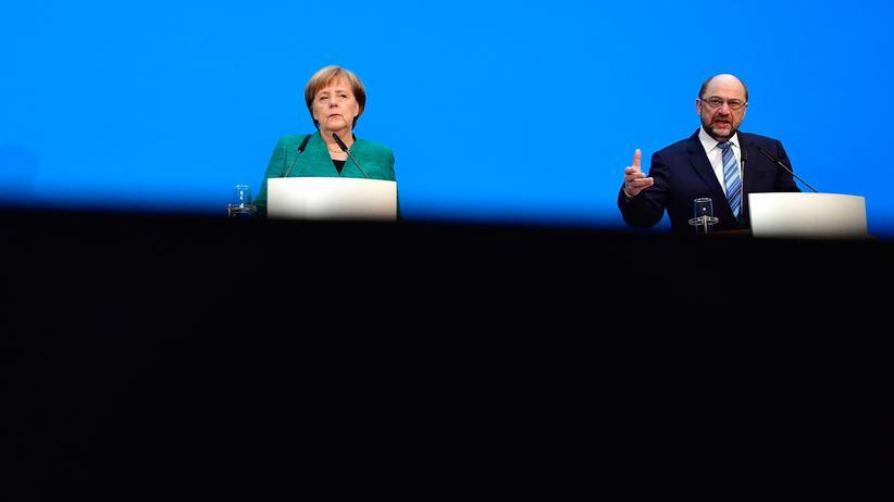 Union und SPD: Bundeskanzlerin Angela Merkel (CDU) und der SPD-Vorsitzende Martin Schulz nach den Verhandlungen über eine große Koalition