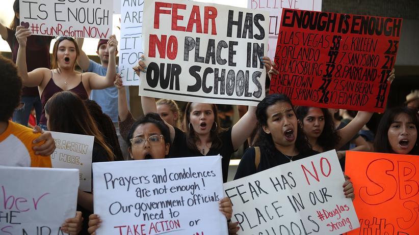Florida: Schülerinnen und Schüler in Florida demonstrieren für schärfere Waffengesetze.