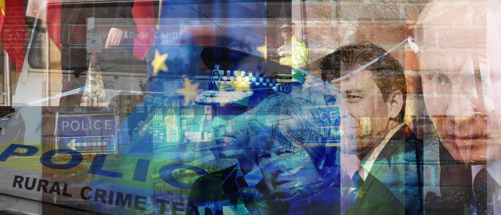 Bildmontage mit Theresa May und Wladimir Putin am Anschlagsort in Salisbury
