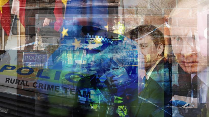 Sergej Skripal: Bildmontage mit Theresa May und Wladimir Putin am Anschlagsort in Salisbury