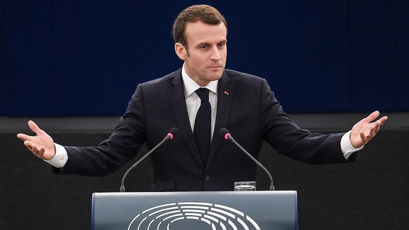 Europäische Union: Emmanuel Macron während seiner Rede vor dem EU-Parlament in Straßburg