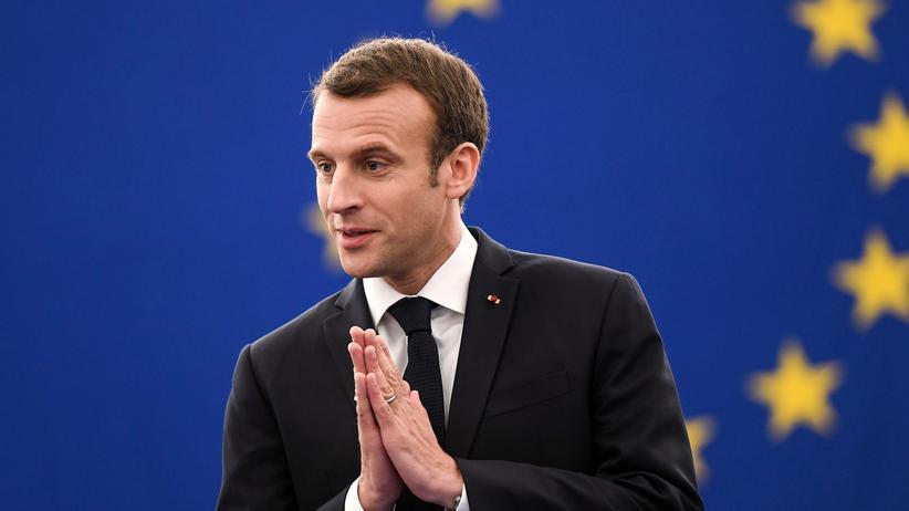 Frankreichs Präsident Emmanuel Macron am 17. April im Europäischen Parlament in Straßburg