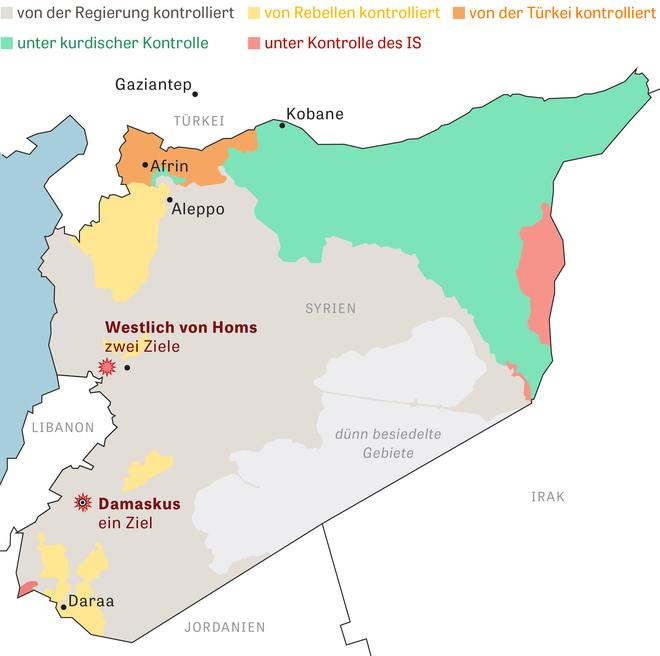 Syrien Karte Aktuell 2018.Syrien Usa Beenden Angriffe Auf Chemiewaffenziele Zeit Online