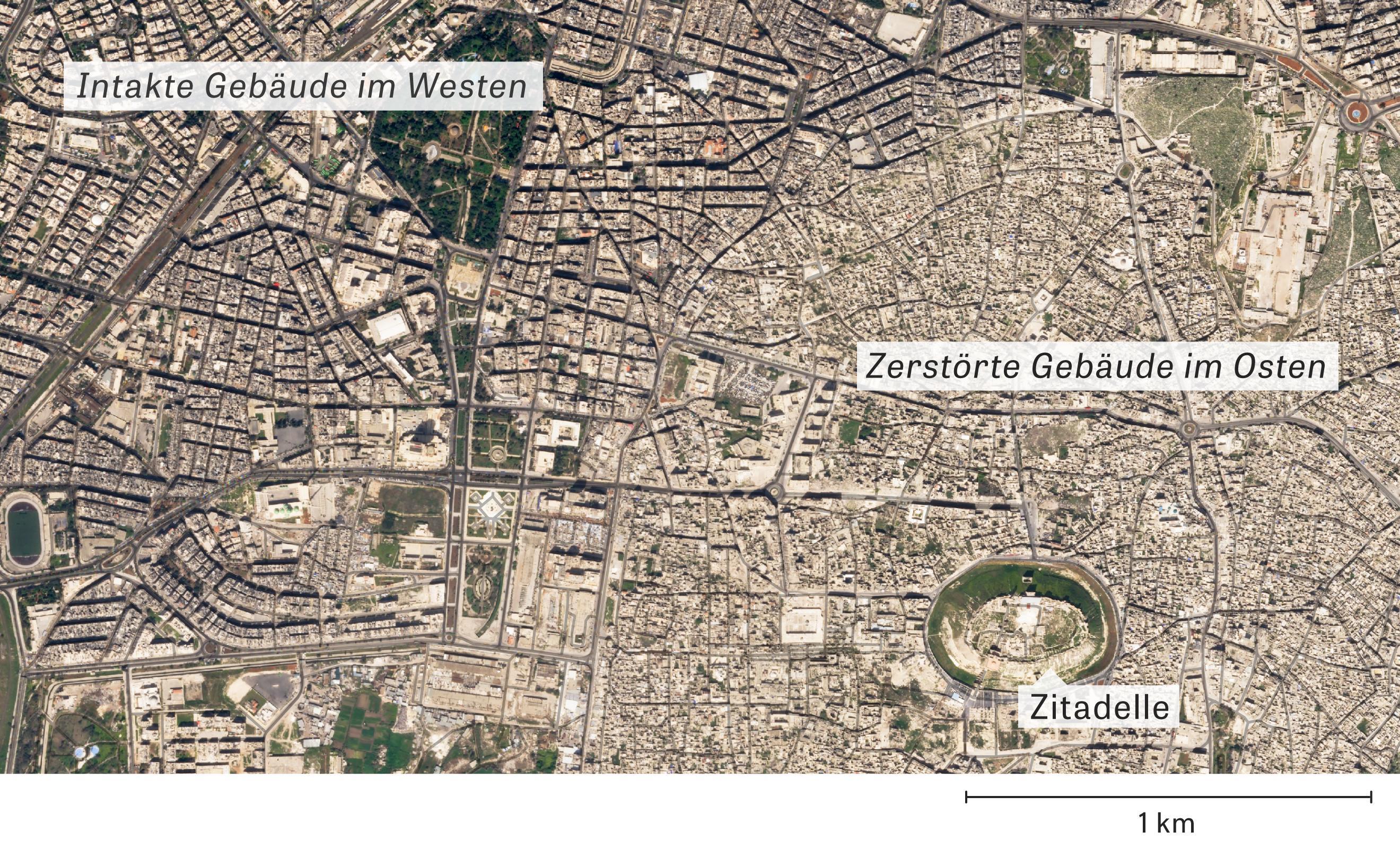 Syrien: Aktuelles Satellitenbild von Aleppo