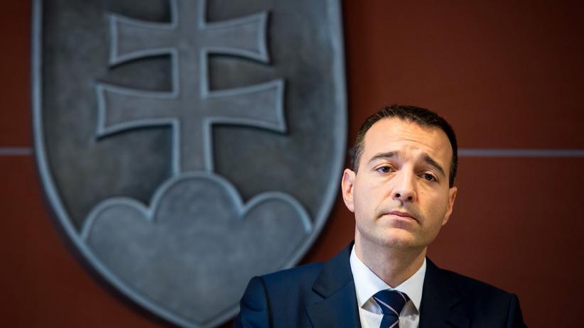 Slowakei: Der slowakische Kurzzeit-Innenminister Tomas Drucker in Bratislava, wo er seinen Rücktritt erklärt hat.