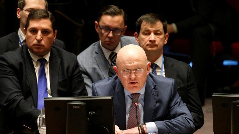 UN-Sicherheitsrat: Russlands UN-Botschafter Wassili Nebensja spricht bei der Sitzung des UN-Sicherheitsrats.