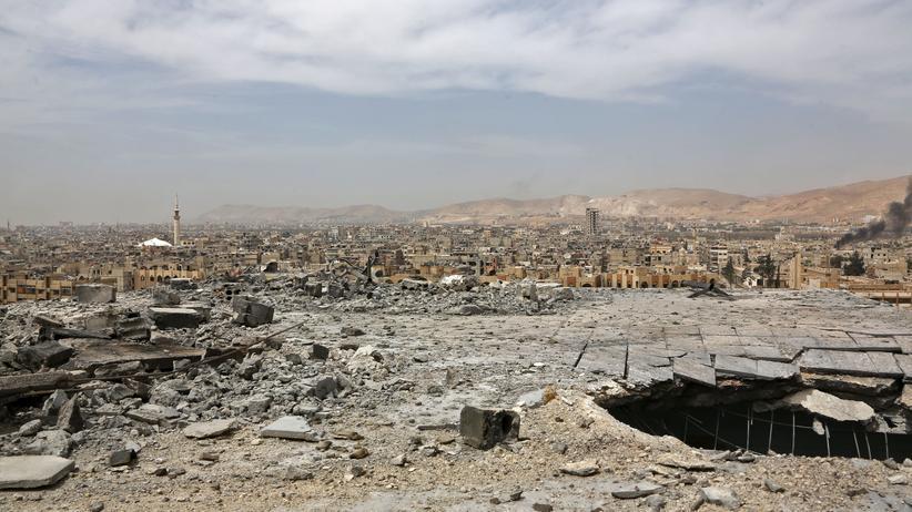 Syrien: Duma, aufgenommen Mitte April, nachdem die syrische Armee erklärte, dass alle Rebellen das Gebiet verlassen hätten