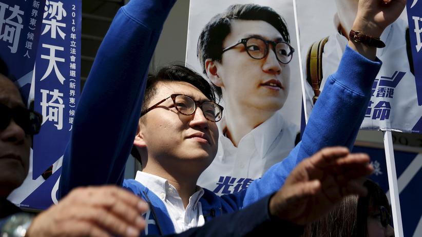 Hongkong: Edward Leung während eines Auftritts bei einer Protestveranstaltung im Februar 2016