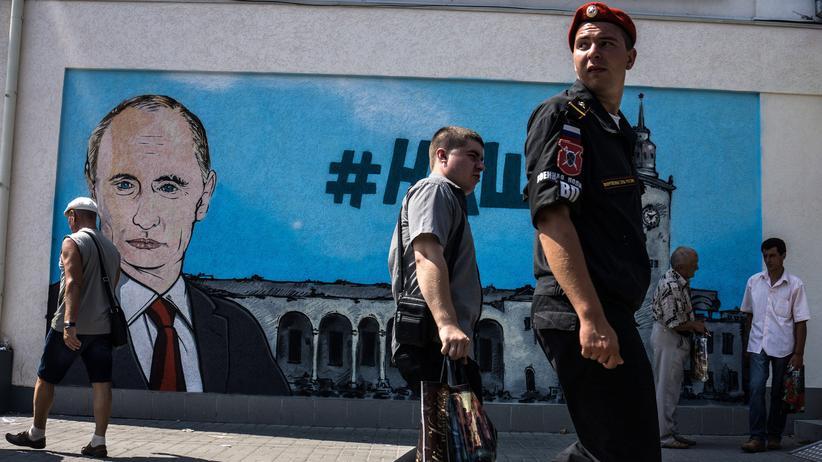 Russland: Ein Putin-Graffiti in Simferopol, Krim