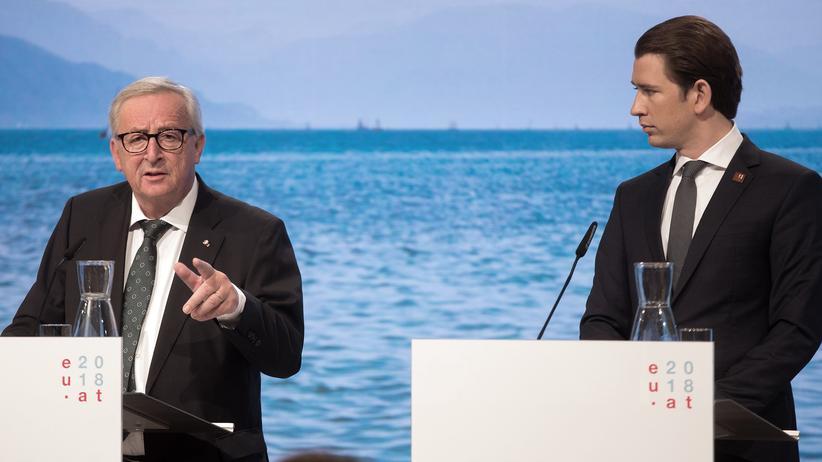 Europäische Union: Kurz und Juncker sehen EU einig beim Außengrenzschutz