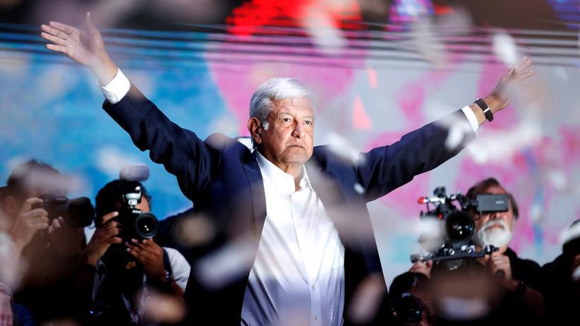 Mexiko: Andrés Manuel Lopéz Obrador nach seinem Wahlsieg in Mexiko-Stadt.