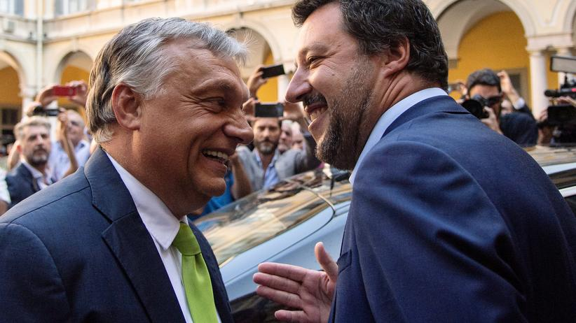 Treffen in Mailand: Italiens Innenminister Matteo Salvini (rechts) und Ungarns Premier Viktor Orbán bei ihrem Treffen in Mailand.
