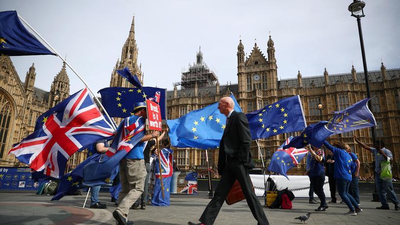 Brexit: Lässt sich der Brexit doch noch abwenden? Demonstration von Brexit-Gegnern vor dem Parlament in London