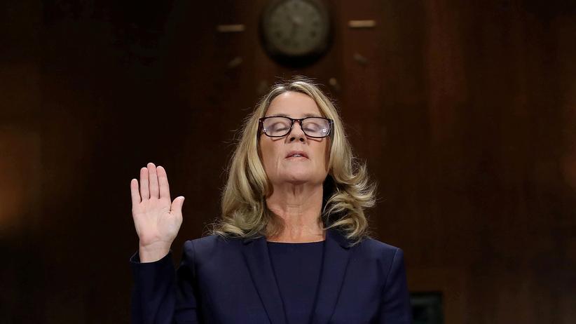 Christine Blasey Ford: Christine Blasey Ford vor ihrer Aussage im Justizausschuss des US-Senats
