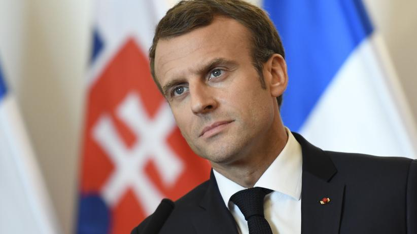 Jamal Khashoggi: Emmanuel Macron bei einer Pressekonferenz in Bratislava