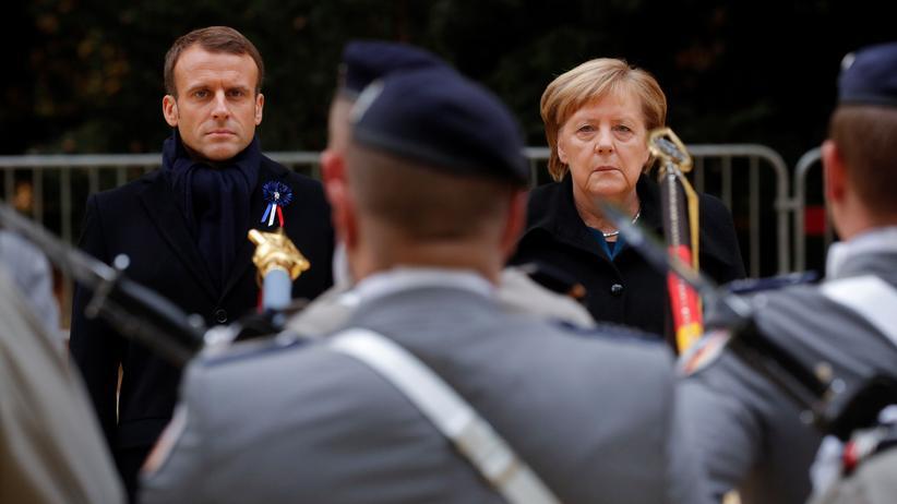 Emmanuel Macron und Angela Merkel, zwei Unterstützer einer gemeinsamen europäischen Armee, während der Gedenkfeier des Ersten Weltkrieges in Frankreich