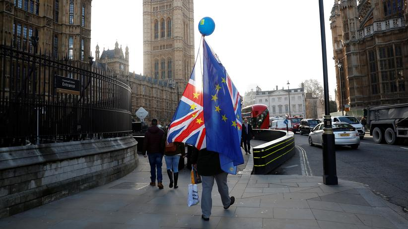 Brexit: Ein Brexit-Gegner vor dem House of Parliament in London