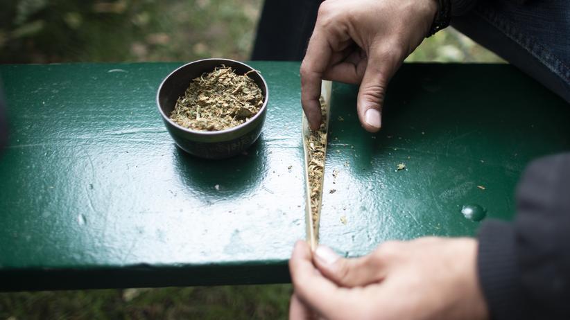 Suchtprävention: Bereit machen für den Rausch: Diese Cannabis-Zigarette ist fast fertig gerollt.