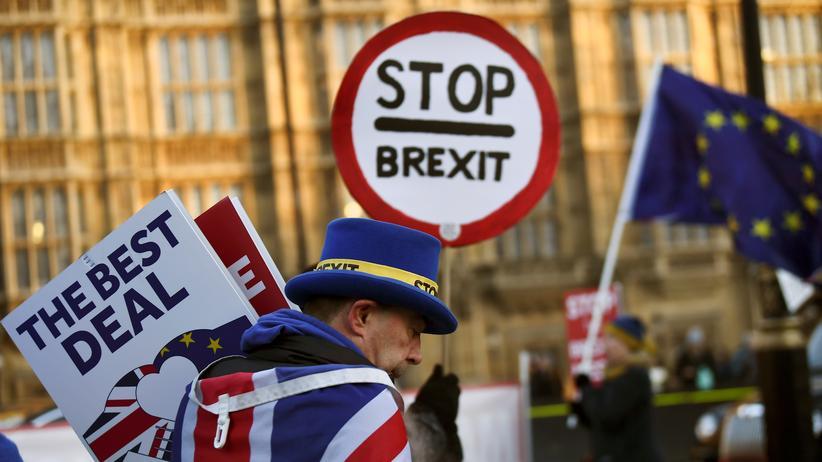 Großbritannien: Anti-Brexit-Demonstrant vor dem Parlament in London