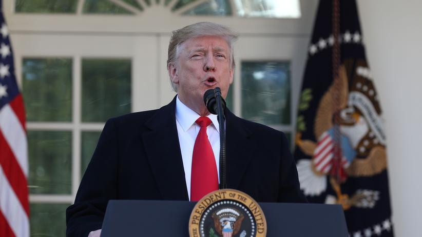 Shutdown: US-Präsident Donald Trump bei seiner Ansprache vor dem Weißen Haus