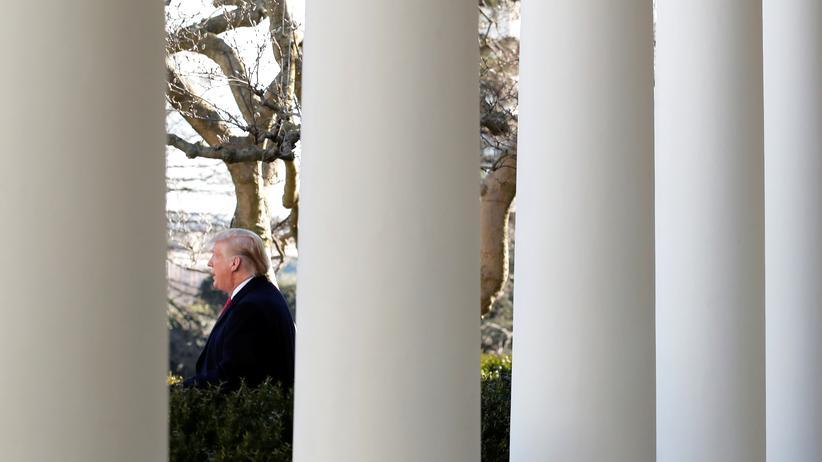 Shutdown: US-President Donald Trump bei seiner Pressekonferenz am Weißen Haus zum beendeten Shutdown