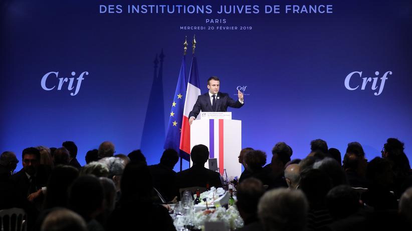 Rechtsextremismus in Frankreich: Präsident Emmanuel Macron beim Ratskongress jüdischer Institutionen in Paris