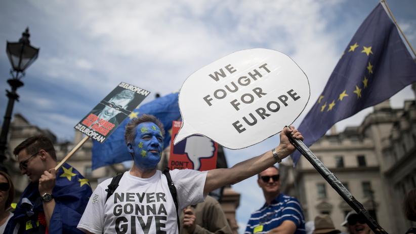 Brexit-Referendum : Teilnehmer der People's-Vote-Demo in London im Oktober 2018
